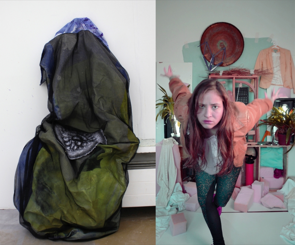 Alexandra Hojenski (links): Abschotten und Einnisten, 2016, Mixed Media, 130 x 60 x 30 cm Julia Liedel (rechts): Julia and her shrine, 2016, Videostill (4:03 Min)