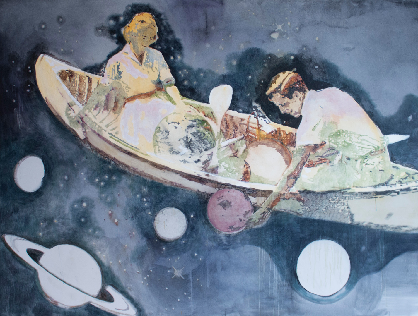 Miriam Vlaming, Into the Universe, 2021, Eitempera auf Leinwand, 180 x 240 cm © und Foto: the artist